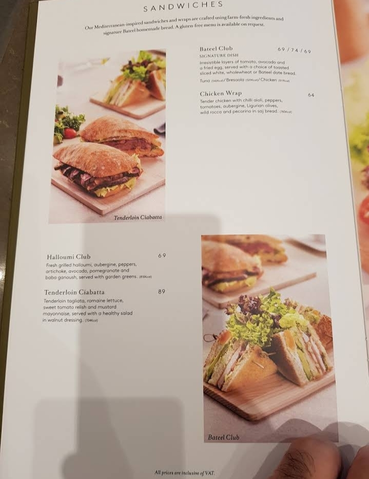 Cafe Bateel Riyadh menu